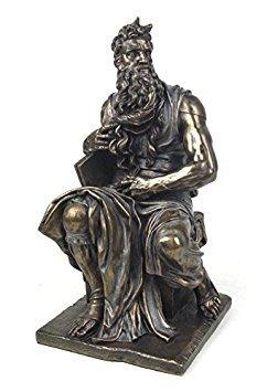 - 11 Inch Cold Cast Bronze Color Moses Sitting Down Figurine Statue