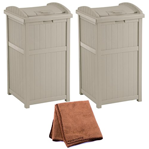 Suncast GH1732 Outdoor Trash Hideaway, Set of 2 with Cleaning Cloth by Súncast