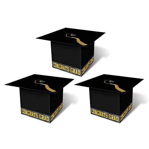 Black Graduation Cap Favor Boxes