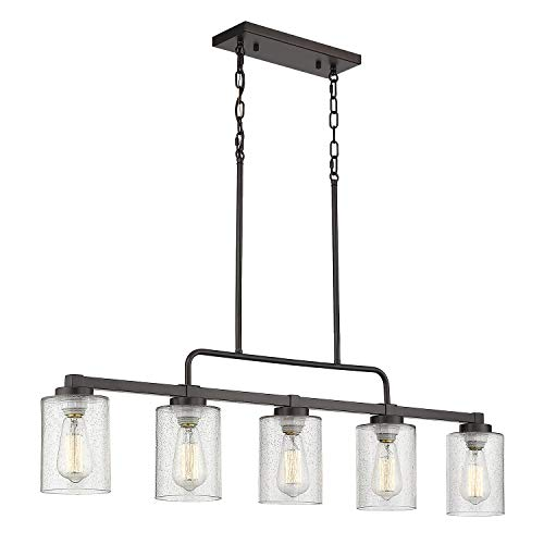"5-Light Kitchen Island Lighting, Beionxii 42"" Large Farmhouse Linear Lighting Chandelier for Dining Room Pool Table Pendant Light, Oil Rubbed Bronze Finish with Clear Seeded Glass"