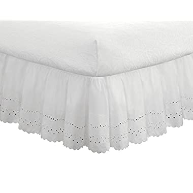 "Eyelet Ruffled Bedskirt – Ruffled Bedding with Gathered Styling –14"" Drop, Queen, White"
