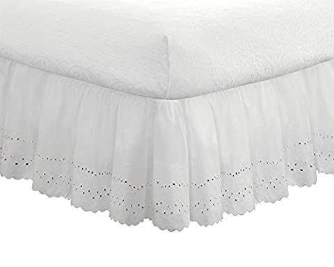"Eyelet Ruffled Bedskirt – Ruffled Bedding with Gathered Styling –14"" Drop, Queen, White - Ruffled Eyelet Trim"