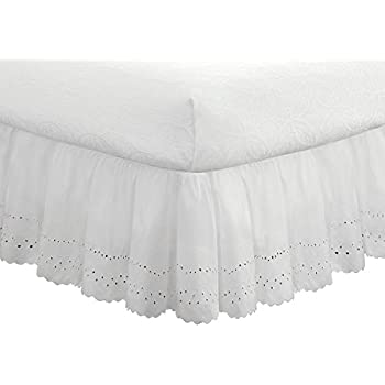 """Eyelet Ruffled Bedskirt – Ruffled Bedding with Gathered Styling –14"""" Drop, Queen, White"""