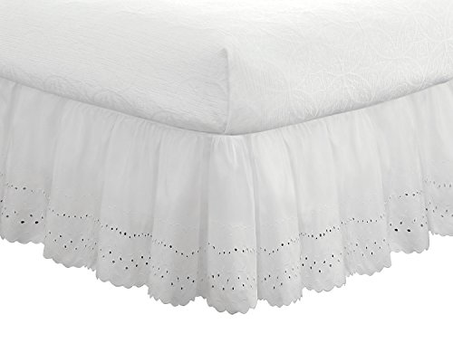 "Fresh Ideas Bedding Eyelet Ruffled Bedskirt, Classic 14"" drop length, Gathered Styling, Twin, White"
