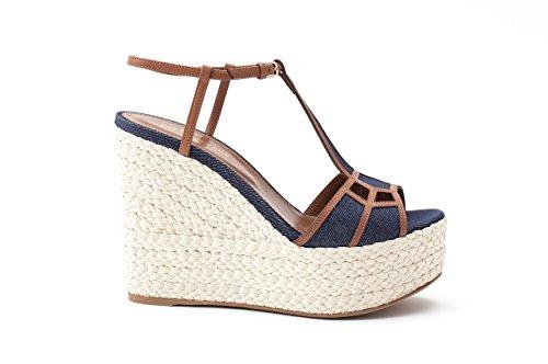 Sergio Rossi Suede Platform Pump - Sergio Rossi Sandals, Luxury Italian Platforms for Women, Open Toe T-Strap Platform, 120mm Heel, 45mm Platform, Suede & Denim, Rope Wedge, Made in Italy