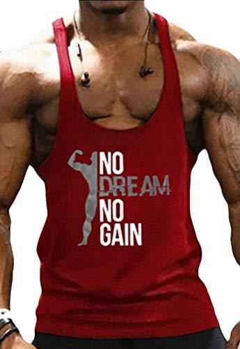 2a646538437ef heymoney Men s Tank Top Workout Gym Fitness Bodybuilding Stringer Muscle  Cut Sleeveless T Shirt Red XS