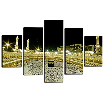Wall Art Canvas Jerusalem Modern Painting Artwork Islamic Pictures Mosque Muslim Posters and Prints 5 Panel/Set Home Decor for Living Room HD Printed Gallery Wrap Framed Ready to Hang(60''Wx40''H)