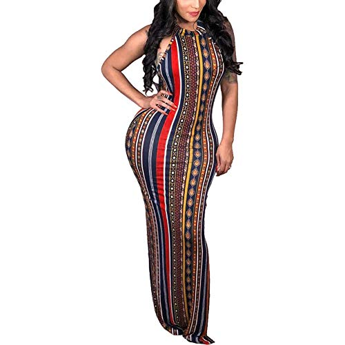 ECHOINE Womens Bohemian Printed Sleeveless Bodycon Ladies Outfits Maxi Dress Summer Style (Style Dress Outfits)