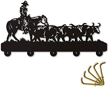コートフック アメリカのカウボーイ木製ハンガーユニークなギフト服ハットキーフック/コートラック/壁がホームデコレーションウォールステッカーキッチンバスタオルフックを引っ掛けクール、ブラック