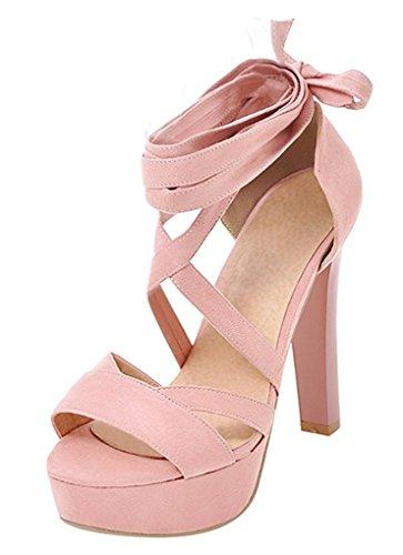 YE Damen High Heels Sandalen mit Schnürung Plateau Pumps Offen 12CM Absatz Sommer Abend Schuhe Pink