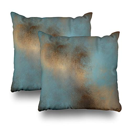 WAYATO Set of 2 Pillow Case Cotton Polyester Blend Throw Pillow Covers Serene Teal Blue Gold Brown Bed Home Decor Cushion Cover 18X18 Inch (Cushions Decor Home)