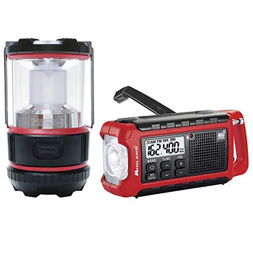 Midland - EL500VP, E+Ready Emergency Kit - ER210 Emergency Compact Crank Weather AM/FM Radio w/SOS Emergency Flashlight, NOAA Weather Scan + Alert & ML500 Lumen LED Lantern