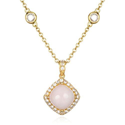 Gold Plate Silver Cushion Pink Peruvian Opal Cabochon ()