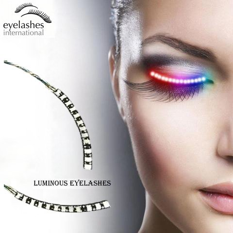 LED Eyelashes Light with 7 Color Unisex Flashes Interactive Changing LED False Lashes Shining Eyeliner Perfect for Party Bar Nightclub Rave Halloween Christmas and Birthday.]()