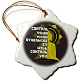3dRose Amar Singha Art - Quotation - An Inspiring Quotation For The Meditation - 3 inch Snowflake Porcelain Ornament (orn_289492_1)