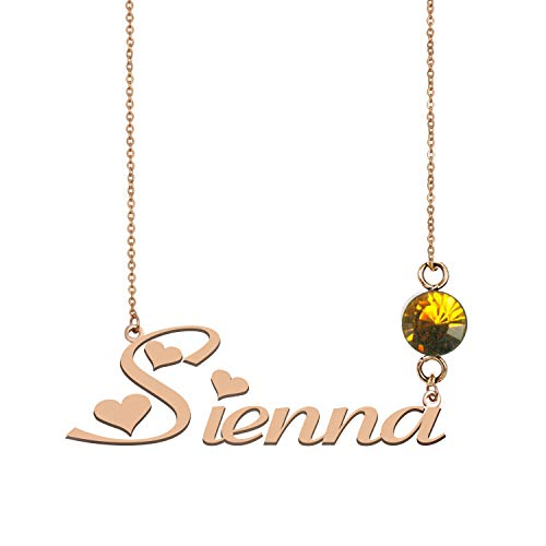 Sterling Silver Name Necklaces Personalized 925 Birthstone Charms for Women Sienna