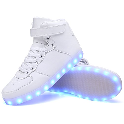 Ryanmay Boys Girls and Kids Shiny Night LED Light Up Shoes USB Charging Flashing Sneakers For children White kkVVmFcqJM