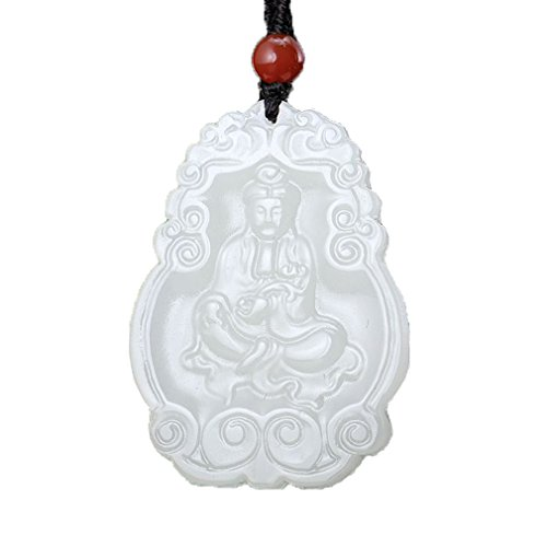 - 100% pure natural Hand carved Afghanistan White jade Guanyin Kwan-yin Bodhisattva Buddha necklace Pendant