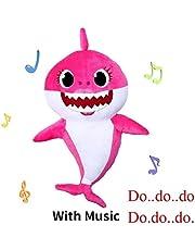Yeawooh Shark Plush Toy 12.6 Inch,Baby Shark Singing Plush Stuffed Animal Doll for Child Pet Hugging Pillow Cushion Kids Gift (Pink)
