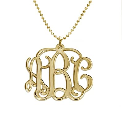 Amazon 10k gold monogram necklace 16 inches pendant 10k gold monogram necklace 16 inches mozeypictures Image collections