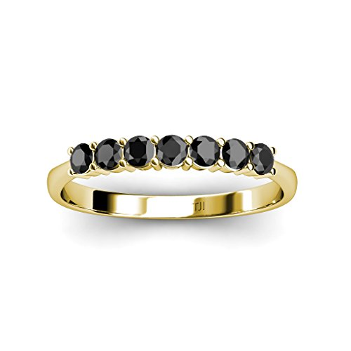 Black Diamond 7 Stone Wedding Band 0.75 ct tw in 14K Yellow Gold