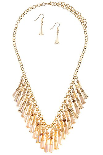 TRENDY FASHION JEWELRY FACETED BEAD FRINGE NECKLACE SET BY FASHION DESTINATION | (Faceted Bead Fringe)