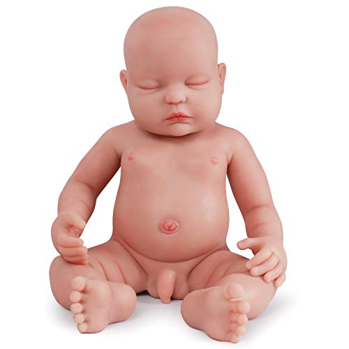 Vollence 18 inch Sleeping Full Body Silicone Baby Dolls,Not Vinyl Material Dolls,Eye Closed Realistic Newborn Real Baby Dolls That Look Real, Soft Handmade Silicone Lifelike Baby Doll - Boy (Silicone Baby Dolls Full Body)