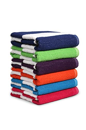 "100% Cotton Bath Towel, Pack of 6, Cabana Stripe Beach Towel, Large Pool Towels (30"" x 60""), Highly Absorbent, Light Weight, Soft and Quick Dry Swim Towels, for Parties, Guests"