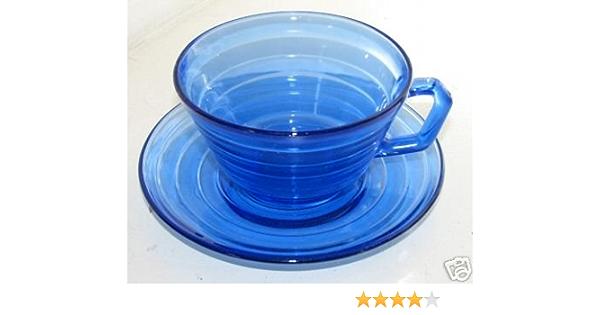 Hazel Atlas Glass Company SET 4 or SET 6-8 Luncheon   Sandwich Plates Cobalt Blue Depression Glass MODERNTONE pattern