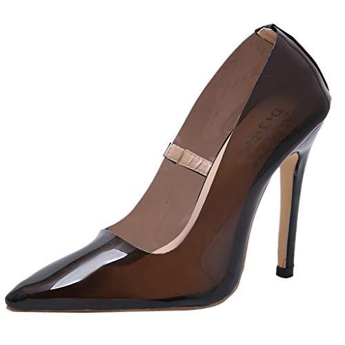 Hauts Femmes Bouche Pointu Peu Talons À Avec Femme sandales Transparente chaussures Escarpins Et Bout Pour Profonde Noir wPpqxYInn