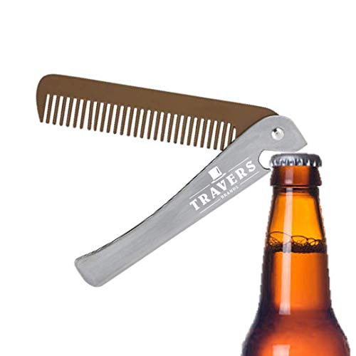 Travers Brands Folding Beard & Mustache Comb with Bottle Opener, Metal Pocket Comb for Men, Beard & Mustache Grooming & Growth, Great Gift for Men