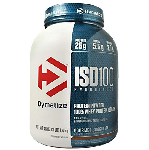 Dymatize ISO 100 Hydrolyzed Whey Protein Powder Isolate, Gourmet Chocolate, 3 Pound