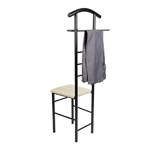 (Danya B. HA81870BK Black Chair Valet - Clothing Stand and Organizer - for Men and Women - Suit Caddy)
