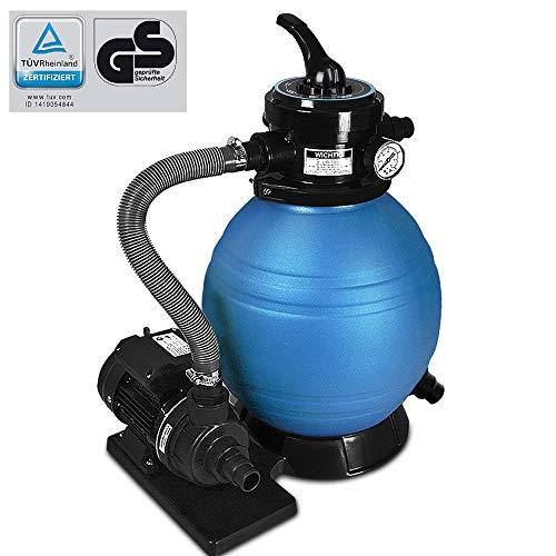 Deuba Depuradora Azul y Negro 10200 l/h bomba de filtro de arena con valvula con 4 funciones filtro de agua para piscina