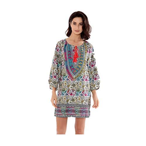 Shusuen Women Bohemian Neck Tie Vintage Printed Ethnic Style Summer Shift Dress 3/4 Sleeve Tunics Blouse Shirts - Hippie Vintage Shift