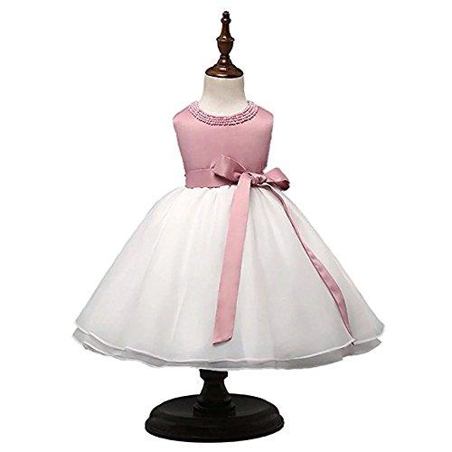 ZAH Tulle Rosette Spring Easter Flower Girl Dress in (Pink Tulle Rosette)