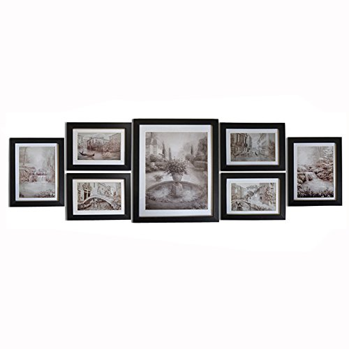 Giftgarden Wall Landscape Painting Picture Frame Multiple Size Art for Photo Display four 4x6 and two 5x7 and one - Wooden Frames Unique