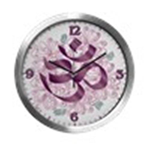 Modern Wall Clock Hindu Om Omkara Aum Meditation Symbol by Truly Teague