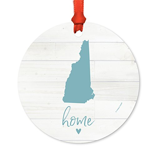 Andaz Press US State Round Metal Christmas Ornament, Rustic Light Wood Print, New Hampshire Home, 1-Pack, Includes Ribbon and Gift Bag - New Hampshire State Tree