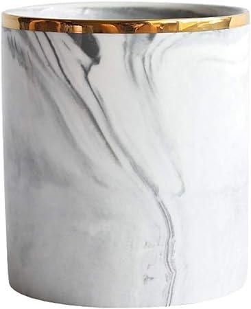 C/éramique Bureau Stylo Pot Stand Marbre Motif Crayon Gobelet Maquillage Brosse Titulaire Organisateur De Bureau Gris