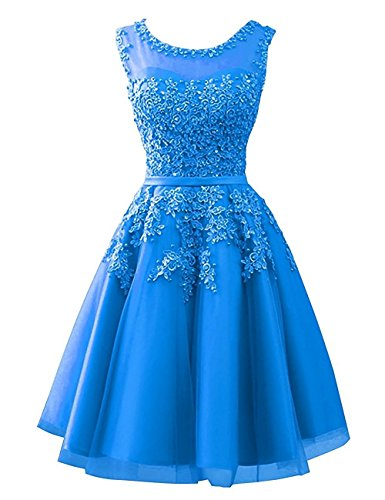 Homecoming Dresses Short Tulle Junior Prom Dress Lace Appliques Evening Gowns Ocean_Blue US ()