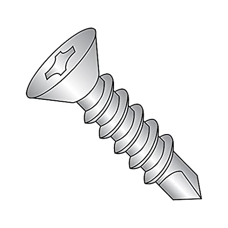 #12-14 Thread Size Pack of 100 Phillips Drive 5//8 Length Zinc Plated Finish 5//8 Length Small Parts 1210KPF Steel Self-Drilling Screw 82 Degree Flat Head Pack of 100 #3 Drill Point