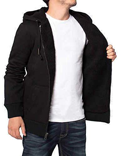 - Buffalo David Bitton Men's Sherpa Lined Hoodie (L, Black)