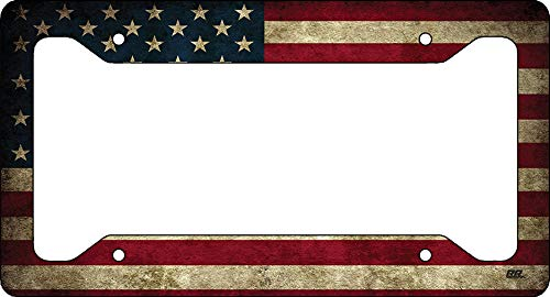 Rogue River Tactical Rustic USA Flag License Plate Frame Novelty Auto Car Tag Vanity Gift American Patriotic US