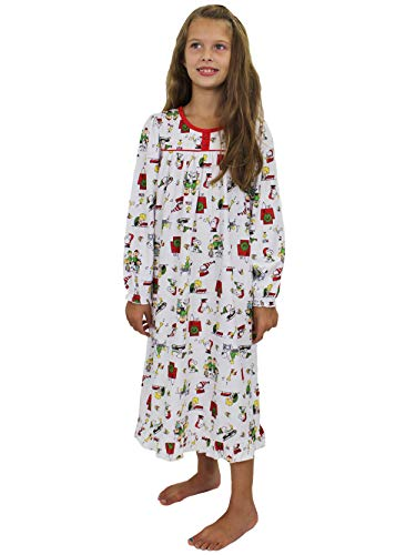 Peanuts Toddler Girls Christmas Holiday Granny Gown Nightgown Pajamas (4T, White)