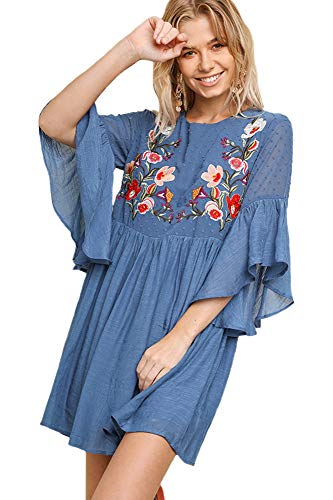 Boho Bliss! Embroidered Bodice Bell Sleeve Babydoll Dress (Medium, Dusty Blue-2)
