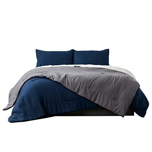 Ella Jayne Home Home Collection Reversible Brushed Microfiber Down Alternative Comforter Set, Charcoal/Navy, King, 3 Piece