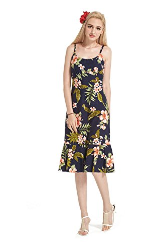 Floral Made Navy floreale Abito dentellare Pink Hawaii Luau Elegante with con in Hawaiian Navy in In Ruffle Donna BTrSwqBv