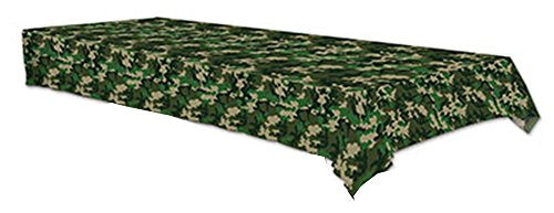 Plastic Tablecover Green Camo Party Buffet Army Tablecloth
