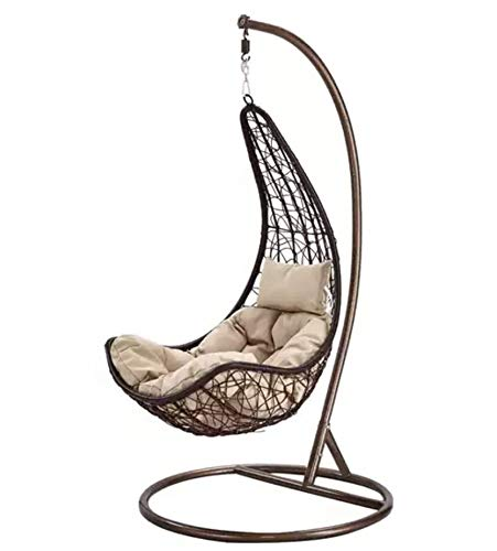 Duzo Brown Hanging Relax Moon Chair Garden Rattan Swing Chair Egg Chair With Stand Cushion 120 Kg Capacity Brown Amazon In Home Kitchen